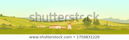 Stockfoto: Velden · Toscane · hemel · weg · wijn · natuur