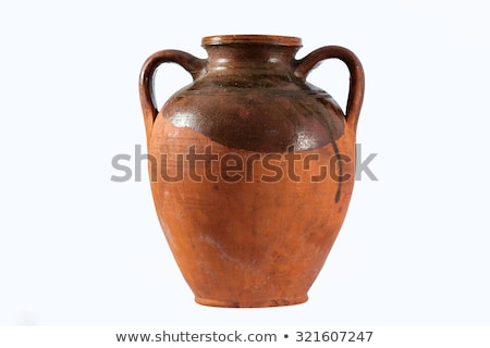 A terracotta amphora on a white background Stock photo © Zerbor