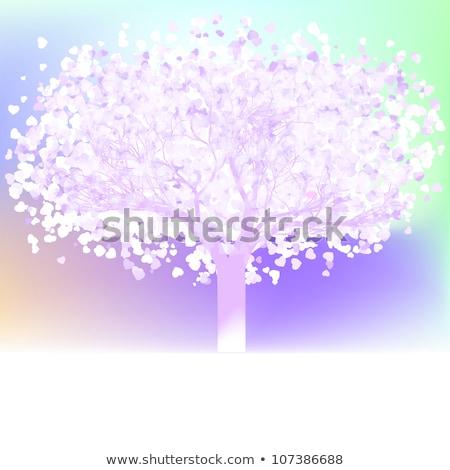 stilizált · fa · virágzik · sziluett · virág · természet - stock fotó © beholdereye