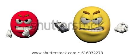 Ifade öfkeli telefon 3d render yalıtılmış beyaz Stok fotoğraf © mariephoto