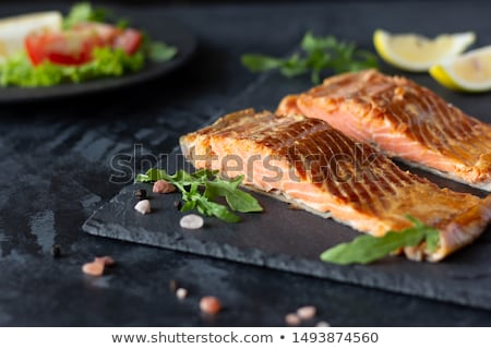 trout fillet with lettuce and lemon stock photo © antonio-s