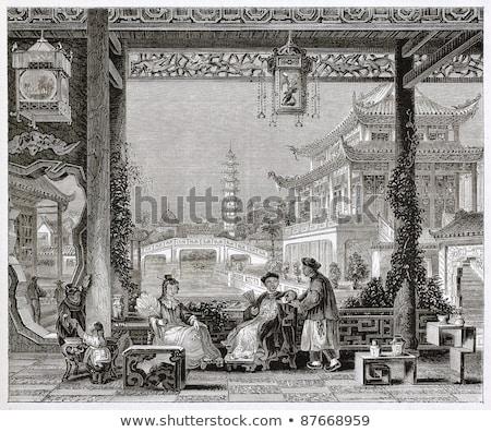Cinese tradizionale portico outdoor parco giorno Foto d'archivio © elwynn