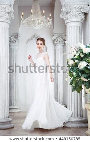 Portret zoete bruid vrouw gelukkig Stockfoto © deandrobot