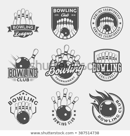 боулинг дизайн логотипа 10 спорт дизайна фон Сток-фото © sdCrea