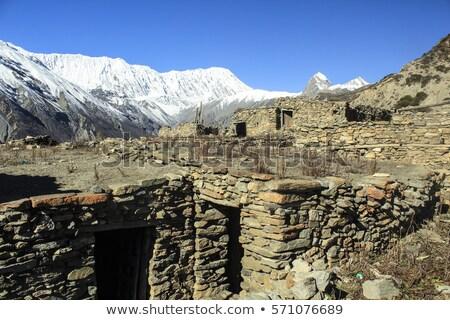 Nepali village in Himalayas mountains. Manaslu curciut trek Stock photo © meinzahn