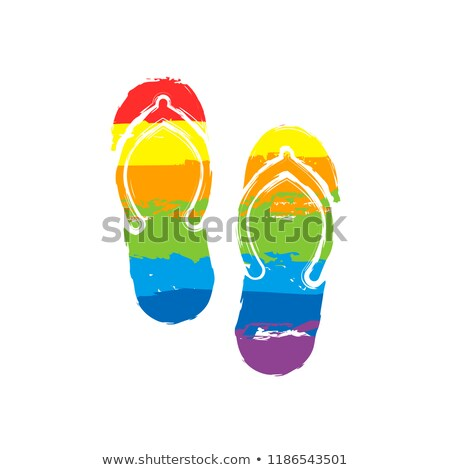 Plaży podpisania kapcie tęczy kolor buty na lato Zdjęcia stock © popaukropa