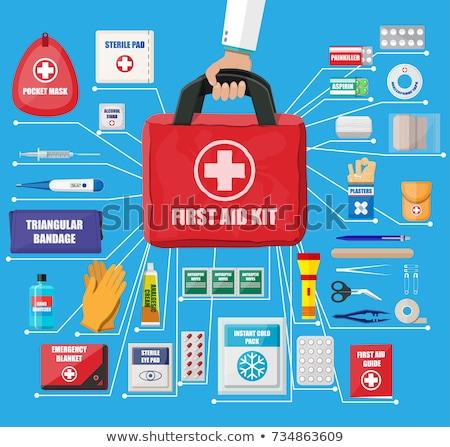 elsősegély · készlet · ikon · piros · gyógyszer · törődés - stock fotó © wad