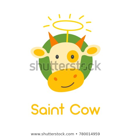 vector flat style illustration of cow isolated on green backgro stock photo © curiosity