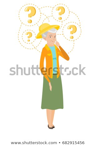 Senior caucasian farmer with question marks. Stock photo © RAStudio
