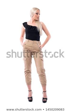 Mode model zwarte broek top poseren Stockfoto © julenochek