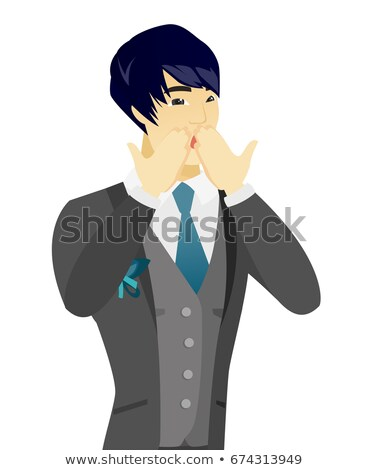 Shoked asian groom covering his mouth. Stock photo © RAStudio