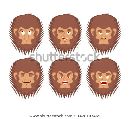 yeti emoji set bigfoot sad and angry face abominable snowman g stock photo © popaukropa