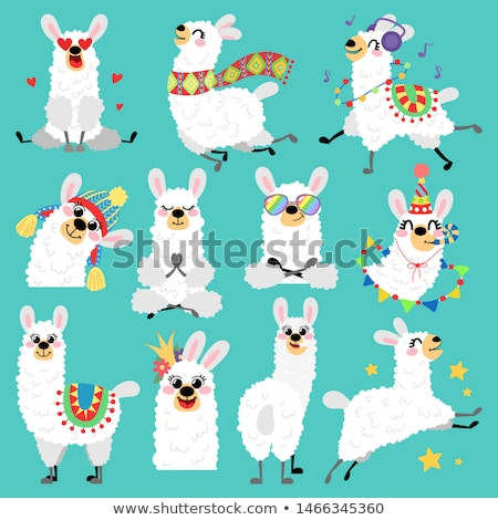 Sticker set for cute animals on blue background Stock photo © bluering