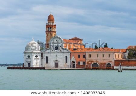 vista · Venecia · iglesia · cementerio · isla · puesta · de · sol - foto stock © Virgin