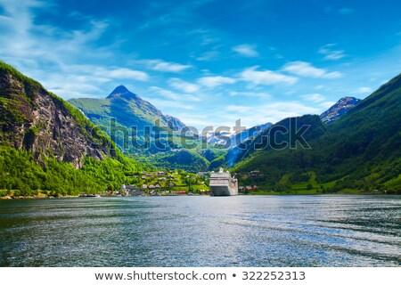 frazione · Norvegia · montagna · cielo · albero · costruzione - foto d'archivio © kyolshin