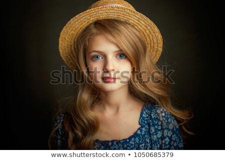 Vonzó aranyos lány sötét ruha függőleges Stock fotó © Traimak