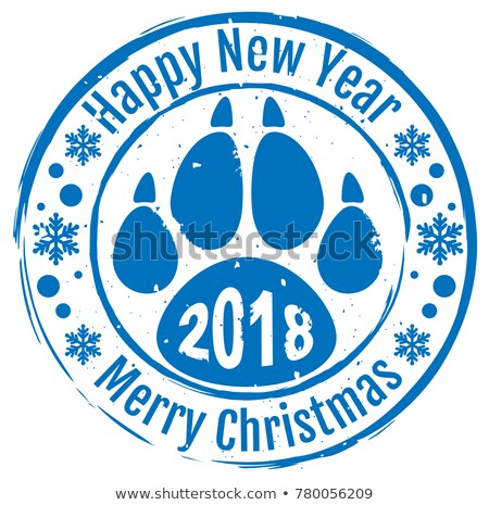 2018 Happy new year and Merry Christmas. Stamp dog footprint paw trail symbol 2018 on Chinese calend Stock photo © orensila