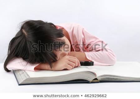 Kid meisje studie vervelen illustratie meisje Stockfoto © lenm