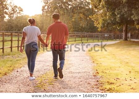 Stock fotó: Két · nő · sétál · vidék · sáv · bőrönd · szállítás