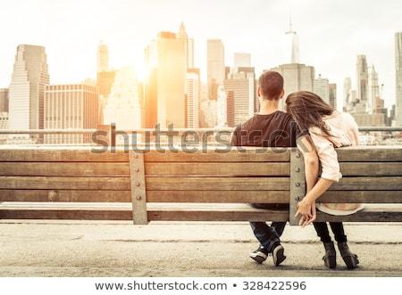 Pareja · aire · libre · sonriendo · mujer - foto stock © is2