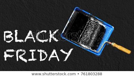black · friday · poszter · szórólap · sablon · piros · hosszú - stock fotó © djdarkflower