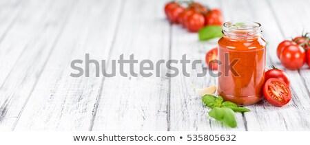 Puchar makaronu organiczny sos pomidorowy domowej roboty zielone Zdjęcia stock © mpessaris