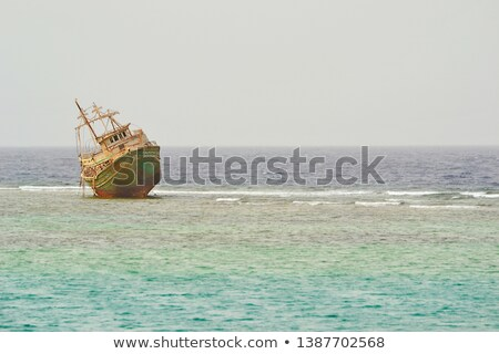 Rusty remains of a sunken ship Stock photo © bryndin