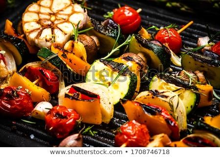 Grillezett zöldség nyárs étel vacsora paradicsom Stock fotó © M-studio