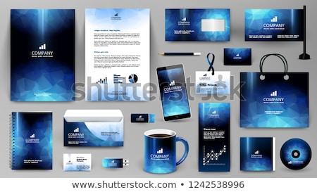 Professionelle blau Business Schreibwaren Set Telefon Stock foto © SArts