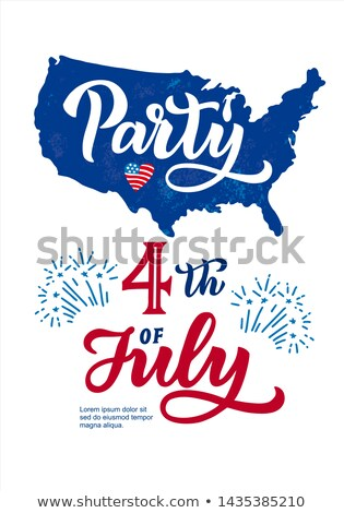Independence Day of the USA Party Flyer Illustration with Flag and Ribbon. Vector Fourth of July Des Stock photo © articular