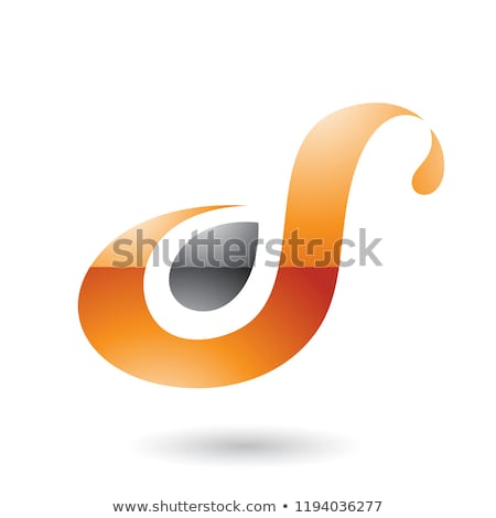 Orange Glossy Curvy Fun Letter D or S Vector Illustration Stock photo © cidepix