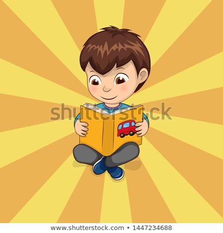 kid · jongen · zitten · sterretje · grillig · illustratie - stockfoto © robuart