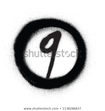 graffiti number nine 9 in circle sprayed in black over white Stock photo © Melvin07