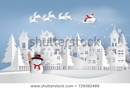 Vidám karácsonyi üdvözlet hóember fény boldog új évet poszter Stock fotó © Voysla
