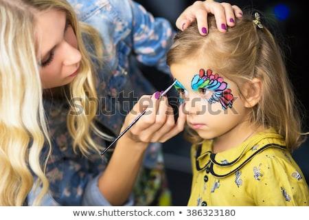 mooie · meisje · schilderij · Blauw · verf · meisje - stockfoto © acidgrey