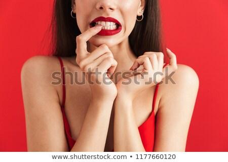 Imagen confundirse vestido aislado rojo Foto stock © deandrobot