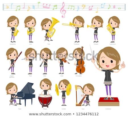 Rövid haj nők zene szett sportruha klasszikus zene Stock fotó © toyotoyo