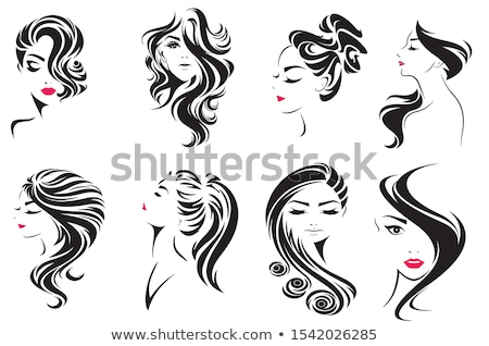 beautiful girl with long hair vector illiustration stock photo © vicasso