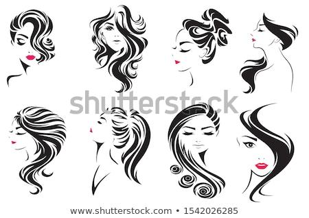 Belle fille cheveux longs vecteur blanche typographie visage Photo stock © Vicasso