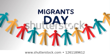 Migrants Day card of diverse people paper garland Stock photo © cienpies