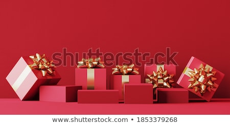 Сток-фото: Red Christmas Gifts And Holiday Elements Card