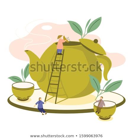 Thé théière cannelle fruits frais boire citron Photo stock © tycoon