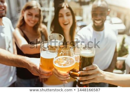 Férfiak szemüveg világos sör két férfi kert férfi Stock fotó © dashapetrenko