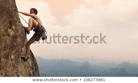 Homme escalade Rock illustration mur nature Photo stock © adrenalina