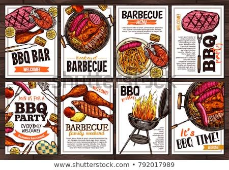 grill · buli · bélyeg · vektor · üzlet · iroda - stock fotó © netkov1