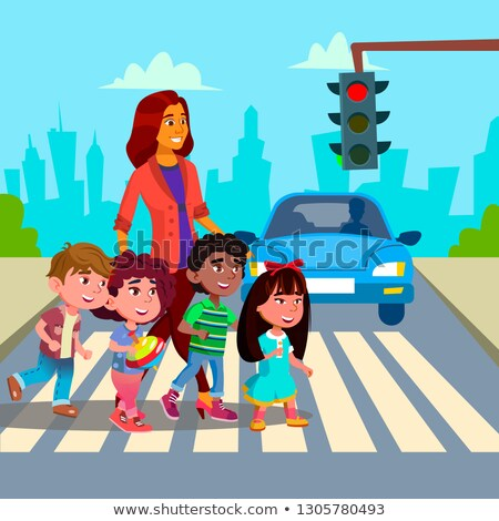 Kindergarten Teacher Transfer Across The Road Little Boys And Girls Vector. Isolated Illustration Stock photo © pikepicture