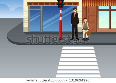 Father and Son Waiting at Traffic Light Illustration Stock photo © artisticco