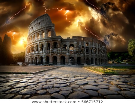 Thunder clouds over Colosseum Stock photo © Givaga