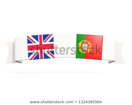 Banner with two square flags of United Kingdom and portugal Stock photo © MikhailMishchenko