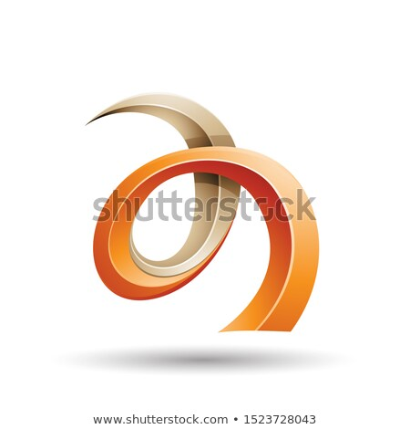 orange and beige curled ivy like letter a icon stock photo © cidepix
